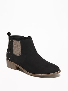 Embellished Faux-Suede Chelsea Boots for Girls