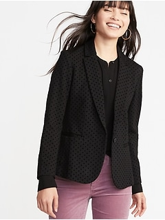 Ponte-Knit Flocked-Dot Blazer for Women