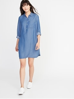 Tencel® Chambray Shirt Dress for Women