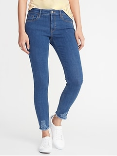 Mid-Rise Rockstar Super Skinny Raw-Edge Jeans for Women