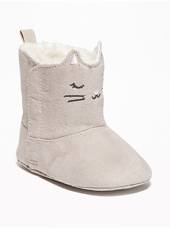 Faux-Suede Kitty-Critter Boots for Baby