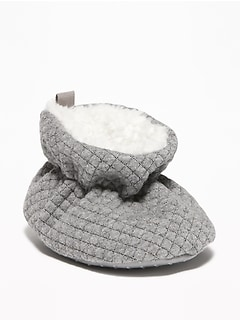 Quilted Sherpa-Lined Booties for Baby