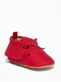Fringed Faux-Sued Moccasins for Baby