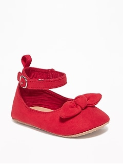 Faux-Suede Bow-Tie Flats for Baby