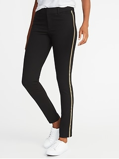 Mid-Rise Ponte-Knit Side-Stripe Pixie Ankle Pants for Women