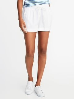 Mid-Rise Linen-Blend Shorts For Women - 4 inch inseam