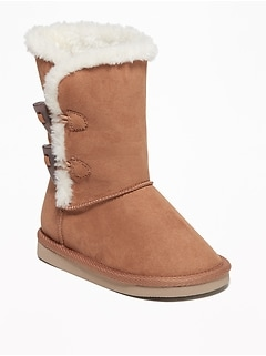 Faux-Suede Toggle Adoraboots for Toddler Girls