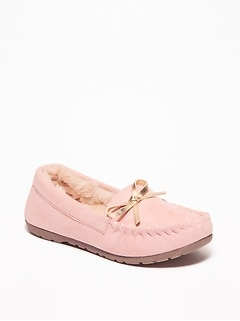 Sueded Faux-Fur Lined Moccasins for Toddler Girls