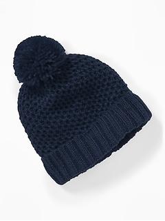 Honeycomb-Knit Pom-Pom Beanie for Baby