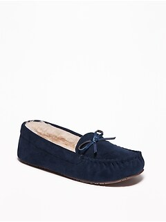 Faux-Suede Sherpa-Lined Moccasin Slippers for Women