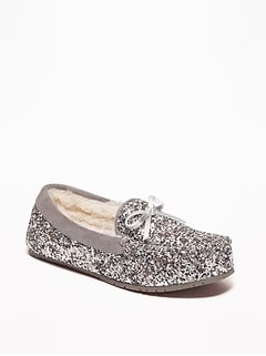 Glitter Sherpa-Lined Moccasin Slippers for Girls
