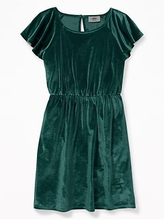 Velvet Waist-Defined Flutter-Sleeve Dress for Girls