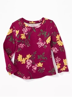 Printed Scoop-Neck Top for Toddler Girls