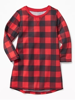 Buffalo Plaid Sleep Dress for Toddler Girls