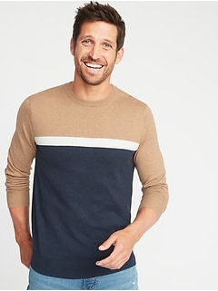 Color-Blocked Crew-Neck Sweater for Men