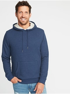 Sherpa-Lined Thermal-Knit Pullover Hoodie for Men