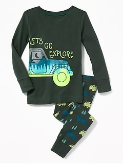 """Let's Go Explore"" Sleep Set for Toddler Boys & Baby"