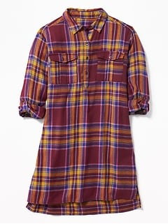 Plaid Flannel Shirt Dress for Girls
