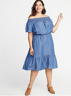 Waist-Defined Tencel&#174 Tiered-Hem Plus-Size Midi