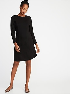 Ponte-Knit Shirred-Sleeve Sheath Dress for Women