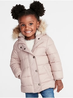 Hooded Frost-Free Long Jacket for Toddler Girls