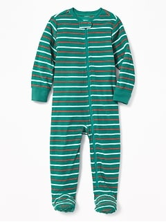 Striped Micro Fleece Footed Sleeper for Toddler & Baby