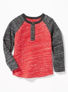 Color-Blocked Sweater-Knit Henley for Toddler Boys