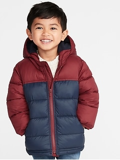 Color-Blocked Hooded Frost-Free Puffer Jacket for Toddler Boys