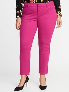 Mid-Rise Secret-Slim Pockets Plus-Size Sateen Pixie Chinos