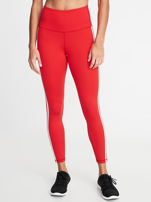 High-Rise Elevate Side-Stripe 7/8-Length Compression Leggings for Women