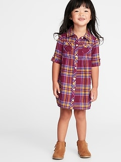 Plaid Flannel Shirt Dress for Toddler Girls