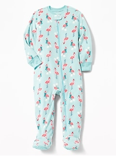 Flamingo Micro Fleece Footed Sleeper for Toddler & Baby