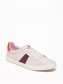 Faux-Leather Classic Sneakers for Women