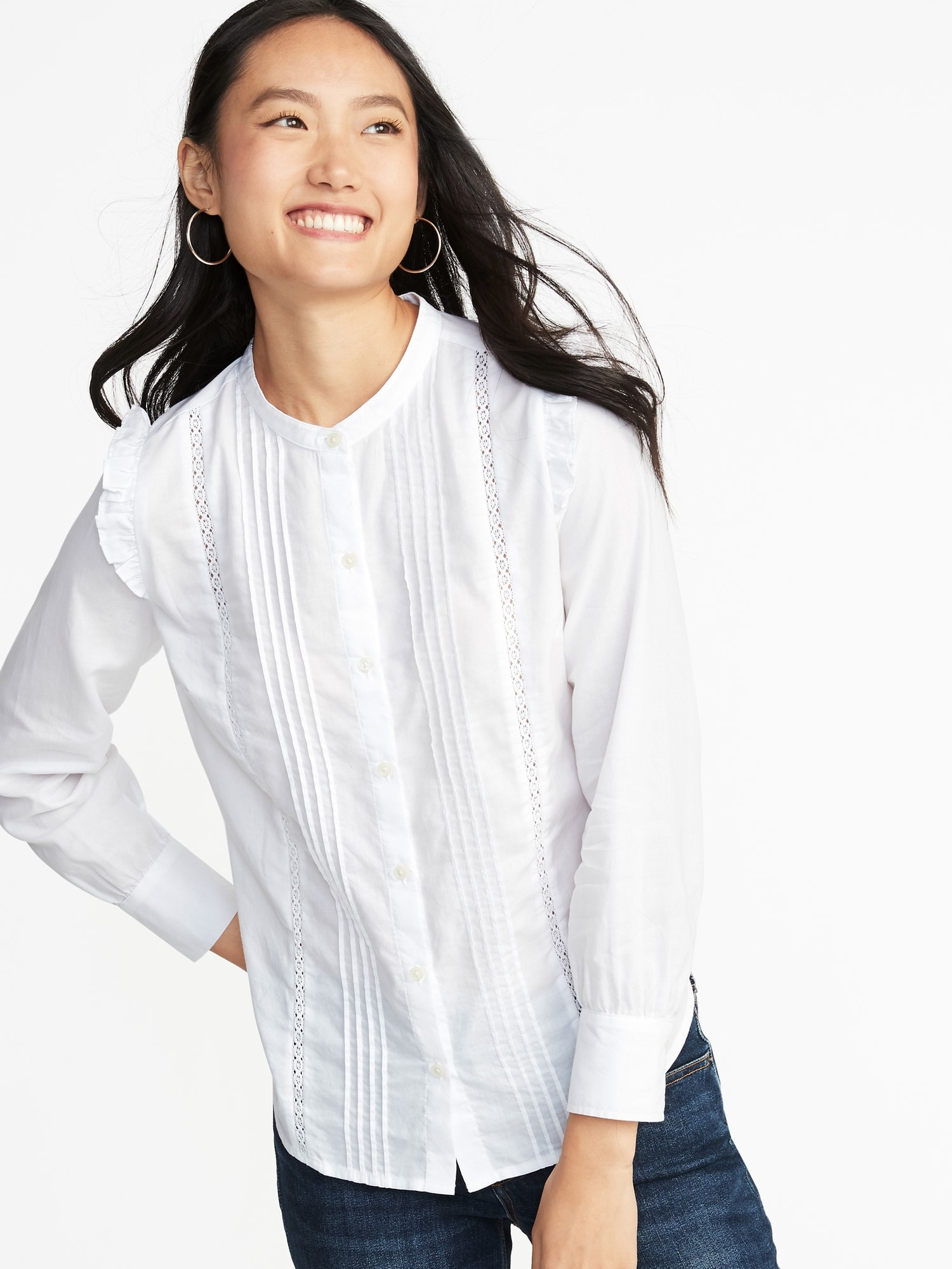 Ruffled Shoulder Lace Trim Shirt For Women Old Navy