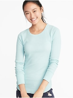 Slim-Fit Curved-Hem Thermal-Knit Tee for Women