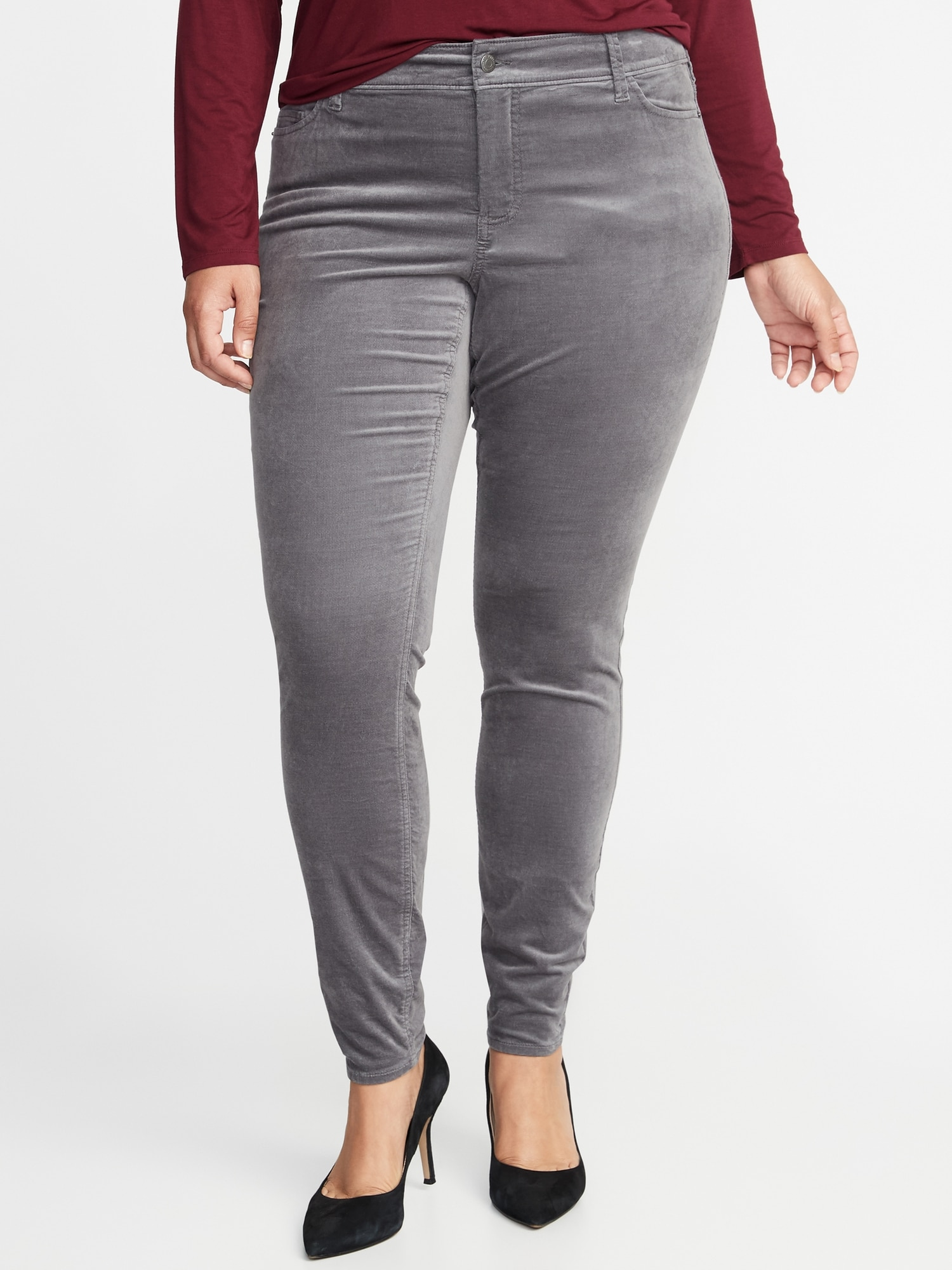 High-Waisted Secret-Slim Pockets Plus-Size Rockstar Super Skinny Velvet  Pants