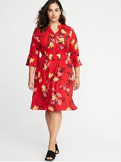 Fit & Flare Plus-Size Henley Dress