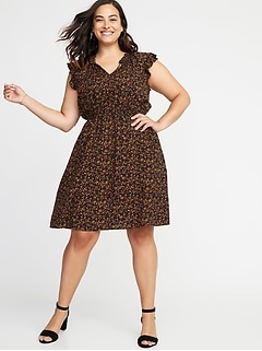 Waist-Defined Plus-Size Ruffle-Trim Dress