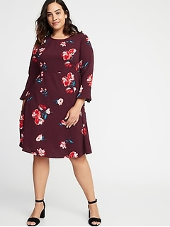 Fit & Flare Plus-Size Fluted-Sleeve Dress
