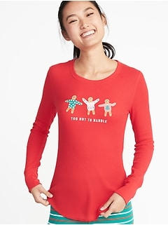 Slim-Fit Holiday Graphic Thermal-Knit Top for Women