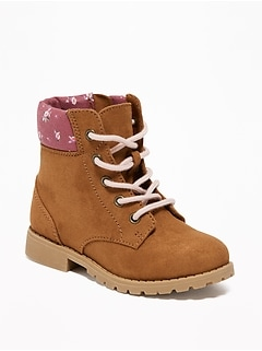 Faux-Suede Hiking Boots for Toddler Girls