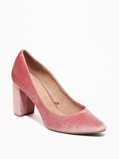 Velvet Block-Heel Pumps for Women