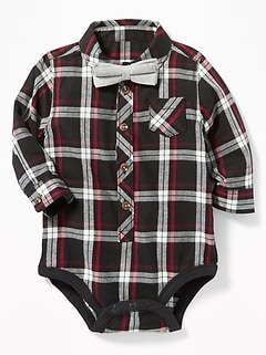 Plaid Bodysuit & Bow-Tie Set for Baby