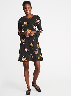 Fit & Flare Ruffle-Sleeve Dress for Women