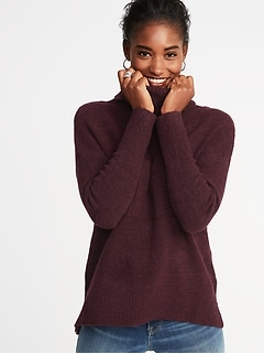 Slouchy Garter-Stitch Turtleneck Sweater for Women