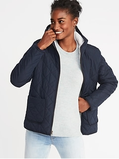Quilted Sherpa-Lined Hooded Jacket for Women