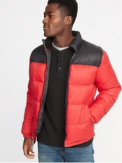 Color-Blocked Frost-Free Puffer Jacket for Men