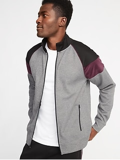 Go-Dry Color-Block Velour-Trim Track Jacket for Men