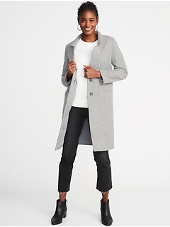 Brushed-Knit Long-Line Coat for Women