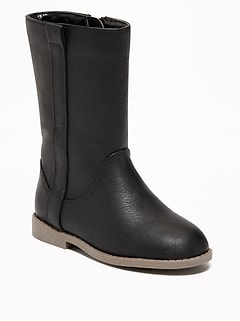 Faux-Leather Tall Boots for Toddler Girls